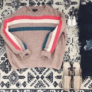 Chenille varsity striped sweater
